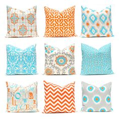 Orange Turquoise Pillows, Decorative Throw Pillow Cover One Orange and Turquoise 12 x 16 OR 12 x 18 Inches Chevron Pillows Greek Key Pillows by FestiveHomeDecor on Etsy