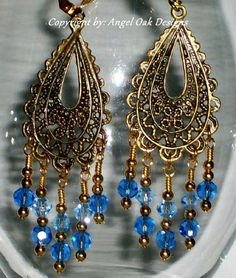 Jewelry for Your Ears - Teardrop Gypsy Chandeliers with Blue Accents  | AngelOakDesigns - Jewelry on ArtFire