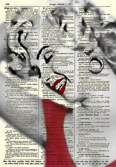 Marilyn Monroe Art Print, Marilyn Monroe in Red Dress, Book Art, Wall Decor, Dictionary Art Print, Mixed Media Collage