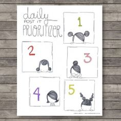 2 new printables: Daily Post-It Prioritizer and 5 a day (photo via: heartmade) (in Spanish)