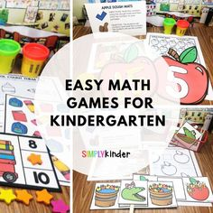 Easy math games for Kindergarten. 18 simple games to help your students explore numbers and practice using them. Click through to see the details.
