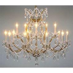 "Swarovski®Crystal Trimmed Maria Theresa Chandelier Lighting H28"" X W37, Gold"