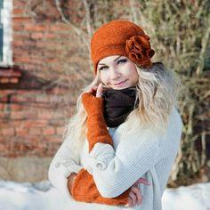 МАНТЕЕЛИ Очаровательная зимняя шляпка в стиле 30-х годов! Цвета: белый, оранжевый и черный Доступны любые размеры