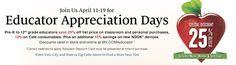 Barnes & Noble Educator Appreciation Days: 25% Off - http://www.dealiciousmom.com/barnes-noble-educator-appreciation-days/