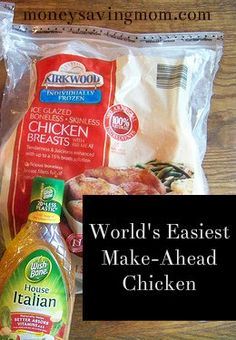 World's Easiest Marinated Make-Ahead Chicken -- This recipe is SO easy and every time I make it, I get requests for the recipe {and then I'm a little embarrassed to share it because the ingredients always surprise people!}