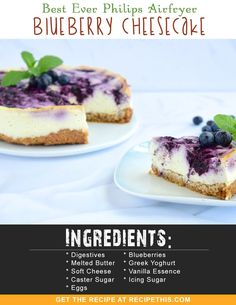 Welcome to my best ever Philips Airfryer Blueberry Cheesecake. We love cheesecake. You have delicious fresh blueberries, Philadelphia soft cheese, a crunchy base and… Blueberry Cheesecake, Cheesecake Recipes, Dessert Recipes, Blueberry Recipes, Keto Recipes, Star Cakes, Digestive Biscuits, Good Food, Yummy Food