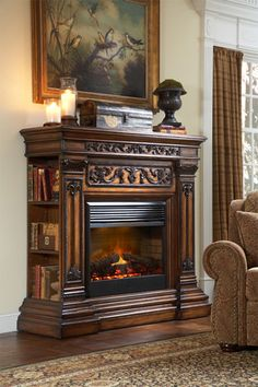Elegant Electric Fireplace With Shelves On The Sides Of The Carved Wood  Mantel. From Victorian