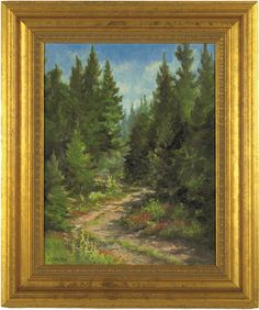"Lot 197: Two Framed paintings of Forest Landscapes: ""Woodland Path"" and ""Logging Road, Maine"" by Linda Sinacola, Rockport Art Association. On website. Labeled as coming from my house."