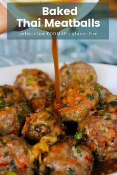 Lower Excess Fat Rooster Recipes That Basically Prime Paleo Thai Meatballs Save Print Prep Time 5 Mins Cook Time 25 Mins Total Time 30 Mins Baked Thai Meatballs Packed With Fresh Flavors And Paired With A Simple Chili Sauce. Low Fodmap and Paleo Approved. Fodmap Recipes, Paleo Recipes, Asian Recipes, Real Food Recipes, Chicken Recipes, Cooking Recipes, Thai Recipes, Paleo Snack, Paleo Dinner
