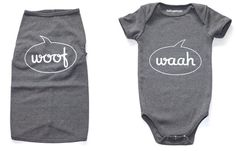 matching dog + baby tees. Too funny.