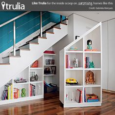 Secret Storage Under The Stairs Staircase Storage, Stair Storage, Stair  Bookshelf, Modern Bookshelf