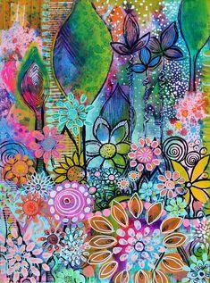 DiaNocheDesigns Nature/Floral Room Darkening Rod Pocket Curtain Panels Size: W x L Art Journal Inspiration, Painting Inspiration, Floral Room, Motif Floral, Arte Pop, Art Journal Pages, Medium Art, Doodle Art, Mixed Media Art