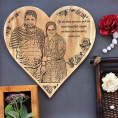 Custom Engraved Anniversary Wooden Frame for Parents - mahogany / 12 in