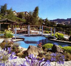 Beautiful backyard with pool and bridge - Blue & Purple & Green