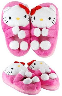 Lovely Pink Hello Kitty Hugging Plush Bedroom Slippers