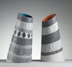 Large Titled Vessels in porcelain by Lara Scobie. Photograph by Shannon Tofts.  Find out more about Craft Scotland at SOFA Chicago at www.craftscotland.org/SOFA