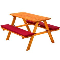 Kids picnic table bench set childrens wood garden furniture with cushions red Living Furniture, Garden Furniture, Cool Furniture, Furniture Sets, Picnic Table Bench, Table And Bench Set, Transforming Furniture, Reupholster Furniture, Garden In The Woods