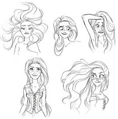 Glen Keane concept art for Rapunzel. I see a lot of Ariel in these sketches.