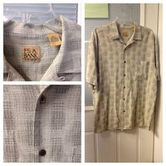 Size L Large Mens JOSEPH A BANK JOS. Silk Cotton Tan Button Down Shirt  Career $2.99