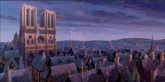 movies, Notre Dame in the setting sun from Disney's The Hunchback of Notre Dame Evil Villains, Disney Villains, Disney Characters, Disney And Dreamworks, Disney Pixar, Walt Disney, Notre Dame Wallpaper, Disney Desktop Wallpaper, Seattle Skyline