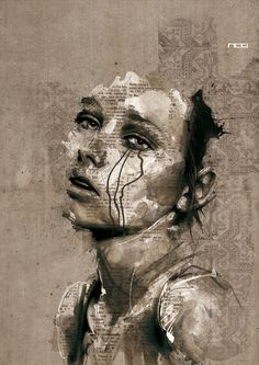 Florian Nicolle blending into the background, ears are perf, mascara running down her face, and words forming who and what she is... GENIUS