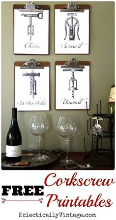 Cheers - In Vino Veritas - Unwind - Screw It! These fun FREE wine printables have vintage corkscrews and cute sayings! Print out, frame and hang! Imprimibles Baby Shower, Photo Deco, Wine Decor, Wine Parties, In Vino Veritas, Küchen Design, Wine Design, Hostess Gifts, Diy Home Decor
