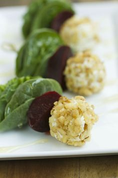 Beet Salad on a Stick | Impress your guests with this delicious bite-sized snack.