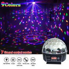 Kryształ Magic Ball Lampa Led Etap 7 Tryby Sterowania Dźwięku 9 kolory 27 W Laser Oświetlenie Sceniczne Światła Laserowego Disco Party Lights Lumiere Stage Lighting, Outdoor Lighting, Disco Laser Lights, Led, Crystal Magic, Glow Party, Commercial Lighting, Party Lights, Crystals