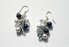 Swarovski Navy Blue Pearl and Crystal Cluster Earrings