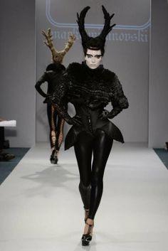 Horns, Cages & Lace-Up Leggings: Marko Mitanovski Spring/Summer 2010 is Avant-Garde & Apocalyptic High Fashion Hair, Dark Fashion, Fashion Art, Gothic Fashion, Avant Garde Hair, Lady Macbeth, Lace Up Leggings, Creative Hairstyles, Weird Hairstyles