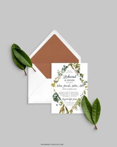 Fall Rehearsal Dinner Printable Template Greenery Wedding image 0