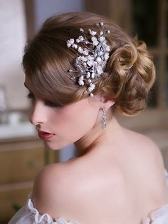 Silver Crystal Hair Comb, Ivory Flower Headpiece, Pearl, Crystal Wedding Hair Flower, Bridal Hair Comb, Bridal Hair Accessories, STYLE 130