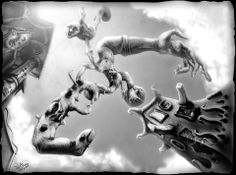 """""""Sky Bowler VS The Pin Bats"""". Pencil, Paper. 1993. Joby Otero. I was working on military sims at the time - not my style. While waiting for my PC to render I would sketch. I think I spent a total of 4 - 6 hrs on this in between other stuff. Digital enhancements applies in 2013. Wait For Me, Bats, Waiting, My Arts, Sketch, Pencil, How To Apply, Military, Digital"""