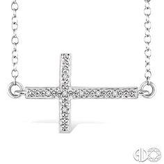 Diamond Sideways Cross Pendant in Sterling Silver