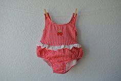 Vintage Baby Clothes  Red & White Gingham Swimsuit by NellsNiche, $12.00