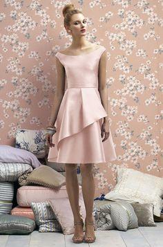 Lela Rose pale pink bridesmaid dress