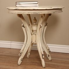 @Overstock - Bring Indonesian craftsmanship to your home with this lovely distressed white wood table handmade by village artisans. Featuring classic lines and fine craftsmanship, this elegant accent table lends warmth and personality to any room.http://www.overstock.com/Worldstock-Fair-Trade/Kalepso-Off-white-Table-Indonesia/5132211/product.html?CID=214117 $197.99
