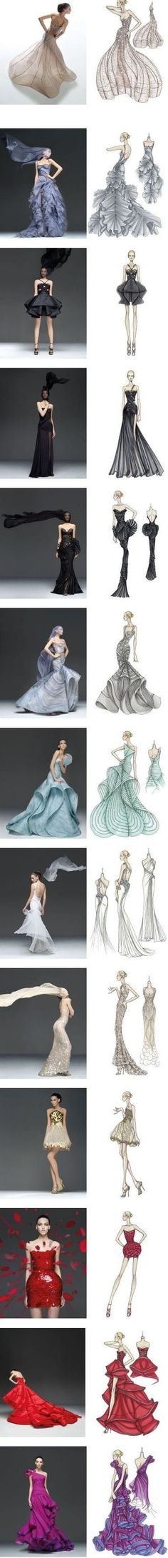 Beautiful examples of fashion illustrations and the garments they are based on: