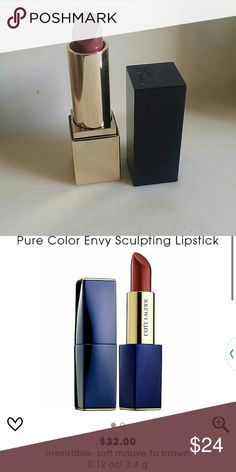 Estee Lauder PureColor Envy Lipstick  irresistible Never used.    What it is: A six-hour wear, highly-pigmented lipstick that gives your lip look the ultimate transformation.?  What it does: Make a bold color statement that lasts. Saturate lips with high-intensity color?in one stroke, swiping on a statement shade that works with all skintones. Designed with multi-faceted pigments that add definition, and a time-released moisture complex that seals in hydration, it leaves lips looking…