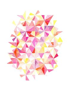 Handmade Watercolor Abstract Triangles in Red, Pink, Orange Kaleidoscope