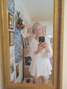 a mirror selfie wearing a liz lisa lolita dress and vintage bloomers #style #happy #dressed #artist #mirror #selfie #lizlisa #liz #lisa