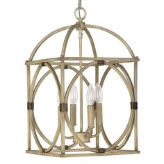 Capital Lighting 4521 Foyer Collection 4 Light Full Sized Cage Pendant French Oak Indoor Lighting Pendants