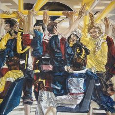 Unterwegs - Painting,  100x100 cm ©2012 by Tanja Kolinko -                                                                    Figurative Art, Canvas, People, Cities