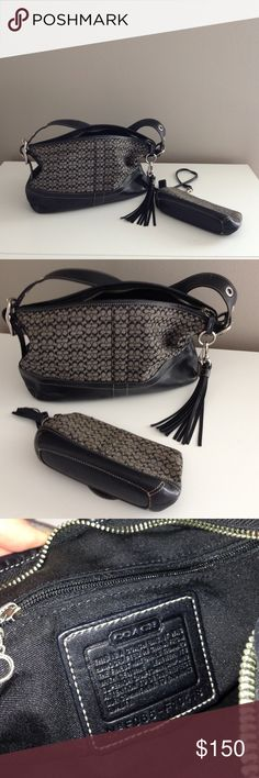 "COACH purse with matching wristlet Coach purse with iconic ""c"" pattern. Medium size. Matching wristlet perfect for phone and lipstick. Leather trim and straps. Great quality. Loved. Coach Bags"
