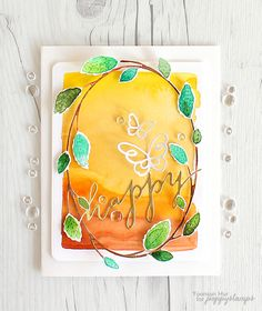 Hello crafty friends, Yoonsun here! Today I'm sharing with you a watercolour card that I've made using Hampstead Oval Frame die. To create the card: 1. Die cut Hampstead Oval Frame from watercolour paper, then watercolour it with Kuretake Gansai Tambi Watercolor using waterbrush. 2. Die cut the word