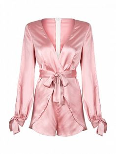 2793756d990 Pink Deep V-neck Bowknot Detail Wrap Front Romper Playsuit