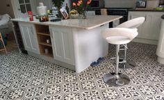 Encaustic Tiles, Moroccan Tiles, Cement Tiles UK: Order from stock! Moroccan Tiles Kitchen, Kitchen Tiles, Kitchen Flooring, New Kitchen, Kitchen Design, Patchwork Tiles, Unique Tile, Encaustic Tile, Tile Floor