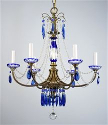 cobalt crystal chandelier made during the 1930's. $899.00