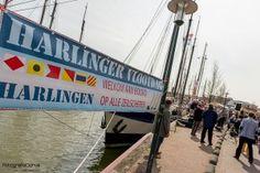 Vlootdag Harlingen in de Zuiderhaven in Harlingen. De Vlootdag is de feestelijke opening van het zeilseizoen van de bruine vloot.