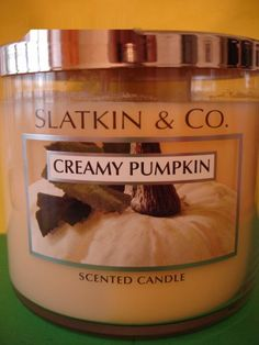 Bath & Body Works Slatkin Creamy Pumpkin Candle 3 Wick 65 hour Large
